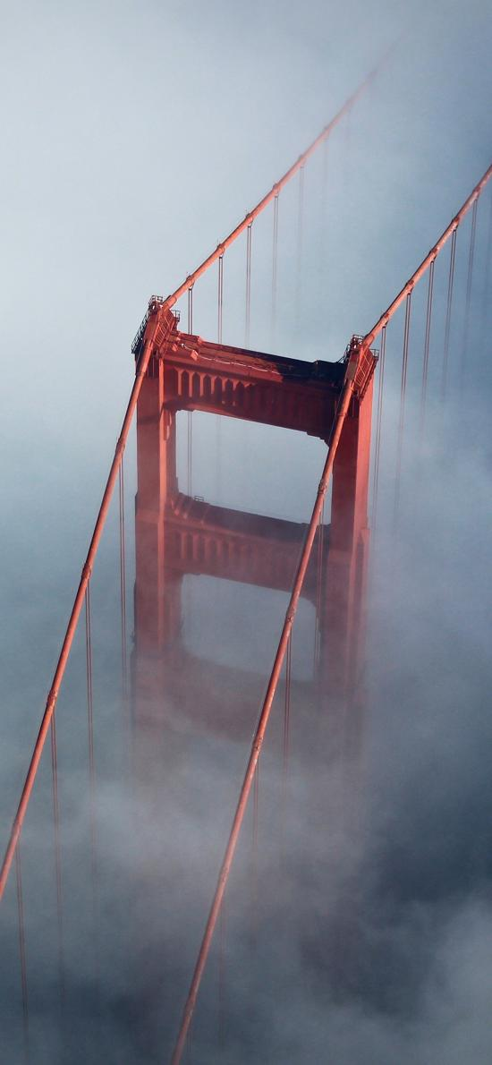 金门大桥 云雾 朦胧