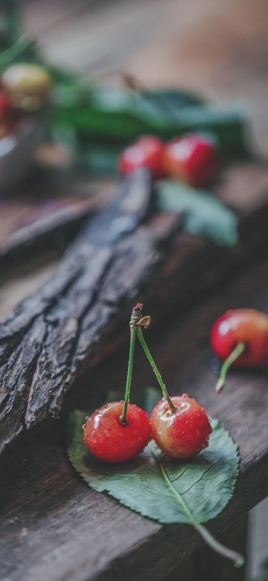 樱桃 车厘子 水果 叶子 新鲜