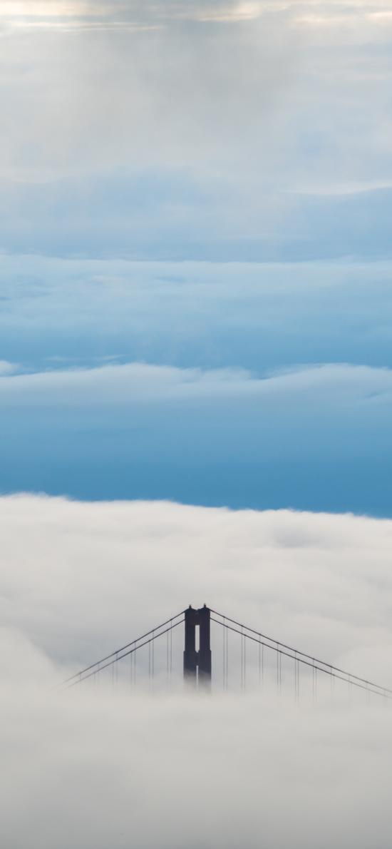 金门大桥 云端 云层 建筑 天空