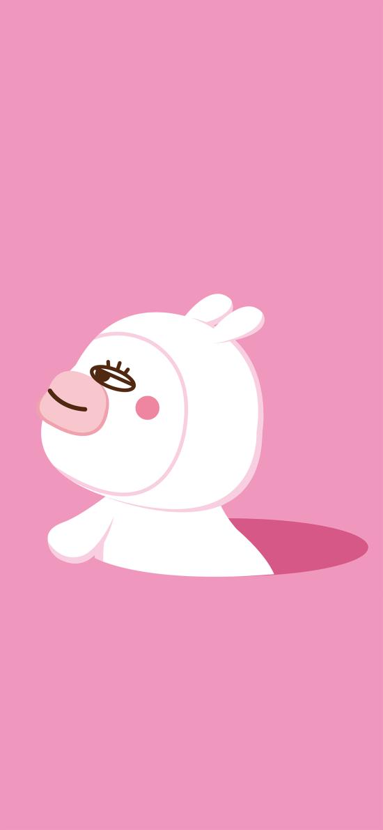 粉色背景 卡通 萌物 兔子