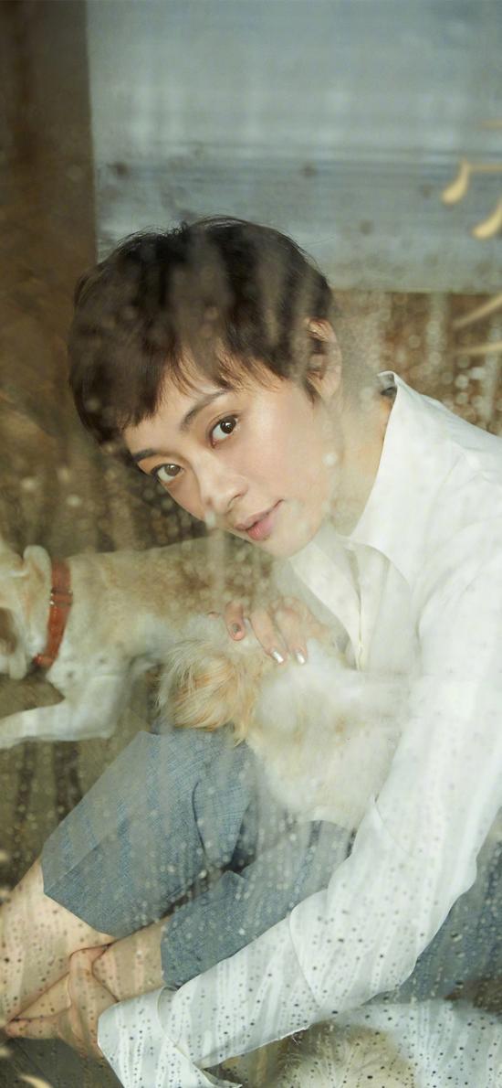 孫儷 演員 明星 藝人 玻璃 水滴 寵物 狗