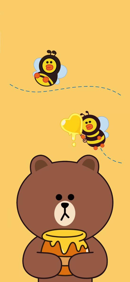 line friends 布朗熊 卡通 可爱 黄色 蜜蜂