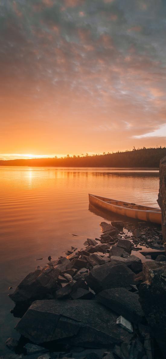 夕阳 湖泊 船只 云彩