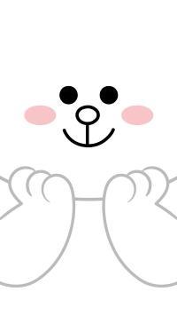 line friends 可妮兔 卡通 可爱 白色 托脸