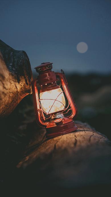 船灯 复古 月亮 海滩