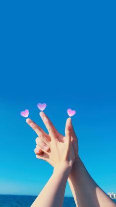 情侣 手势 比心 爱心