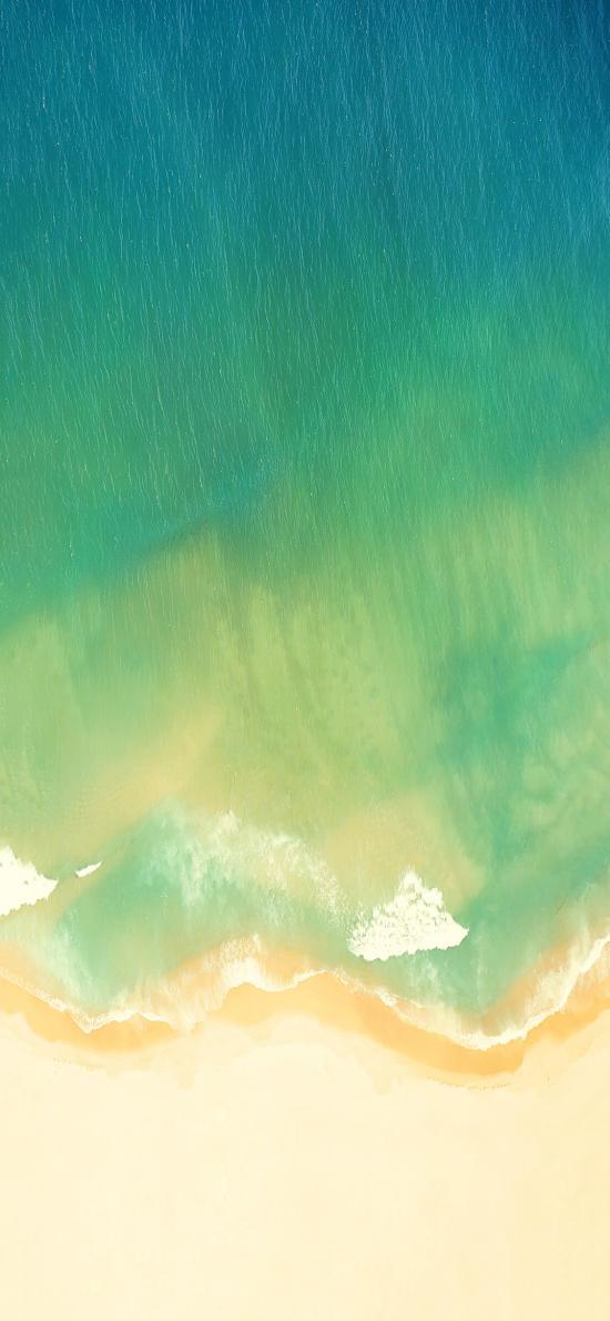 大海 渐变 绿色 海浪 海滩 沙滩