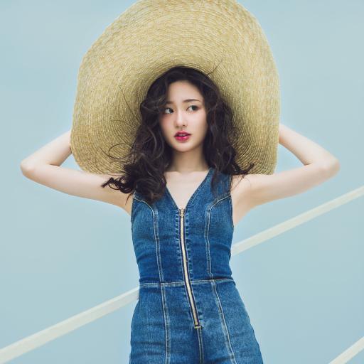 女孩 性感 草帽 海边 蓝色