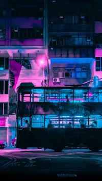 双层巴士 夜晚 街道 香港 城市