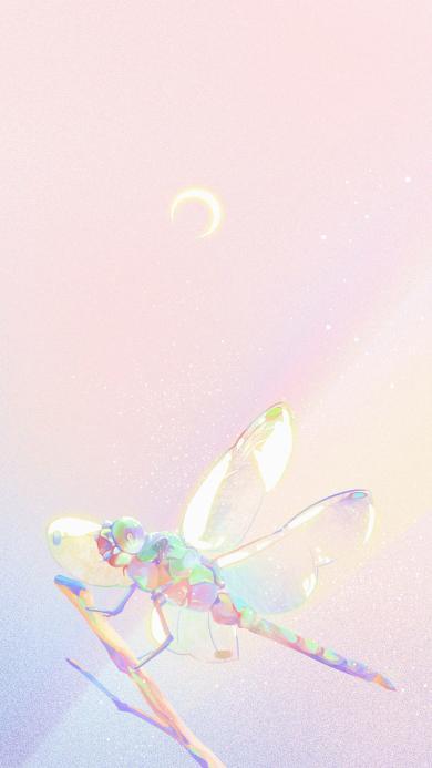 蜻蜓 梦幻 月牙 插画(取自微博@Mochy爱夏天)