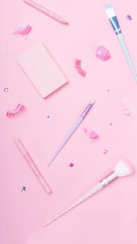 粉色 化妆刷 假睫毛 静物