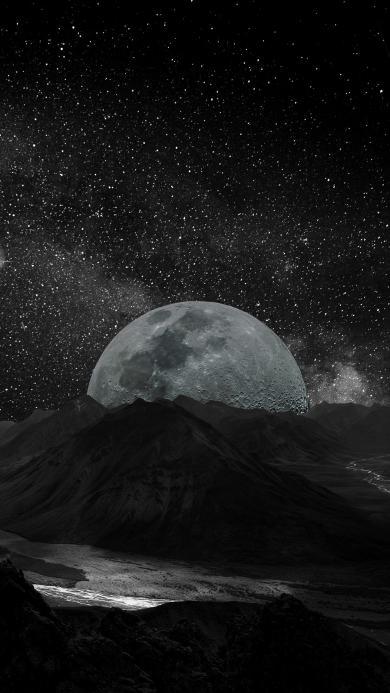 月球 山 黑暗 星空 炫酷 神秘