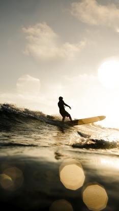 冲浪 海浪 夕阳 海面