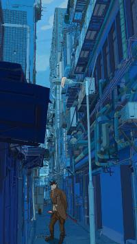 街道 插画 建筑 怪物 蓝色 猫人