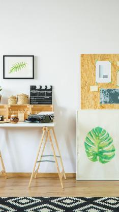 室内 桌子 打字机 装饰画 软装 设计 木艺