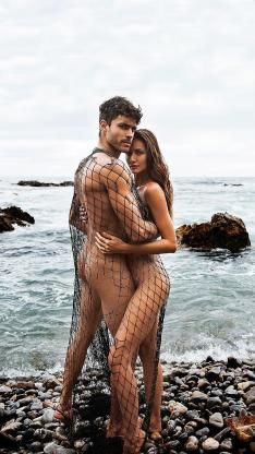 性感 裸体 渔网 模特 海岸