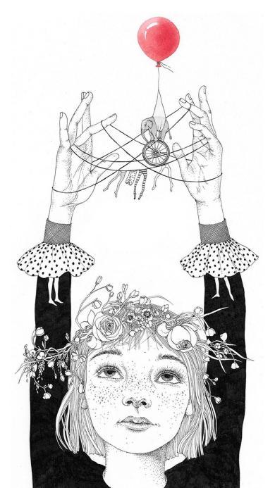 雀斑女孩 插画 简笔 黑白 红气球