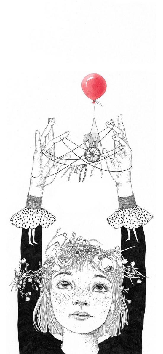 雀斑女孩 插畫 簡筆 黑白 紅氣球