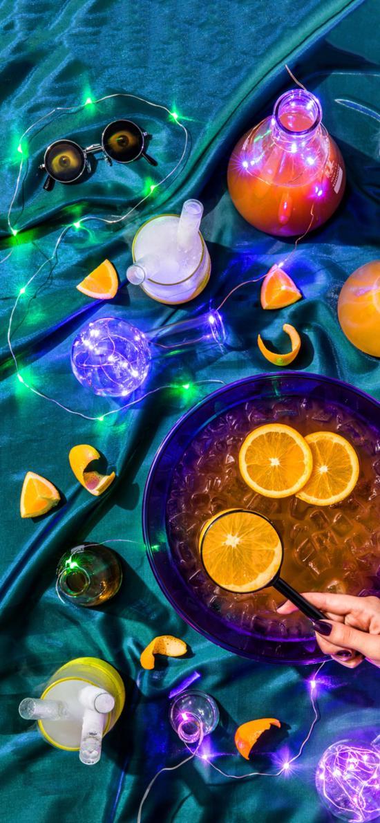 容器 果汁 橙子 冰块