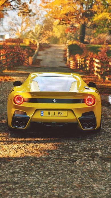 法拉利 超级跑车 炫酷 秋天 黄色