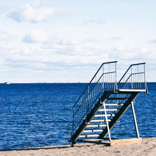 海滩 沙滩 梯子 大海
