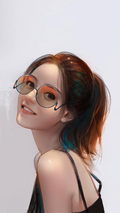 女孩 插画 马尾 眼镜