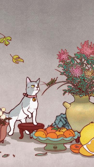 猫咪 插画 果盘 插花