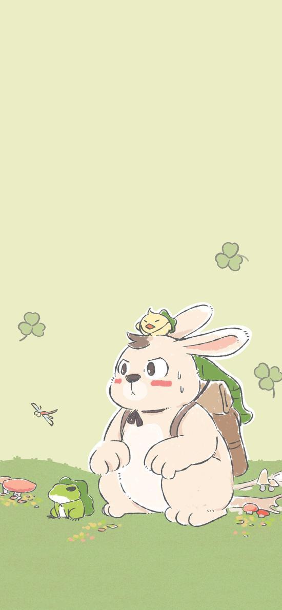 卡通 呆毛兔 旅行青蛙 可愛