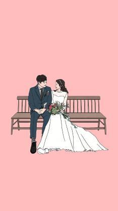 结婚 婚纱 浪漫 爱情 粉色 插画