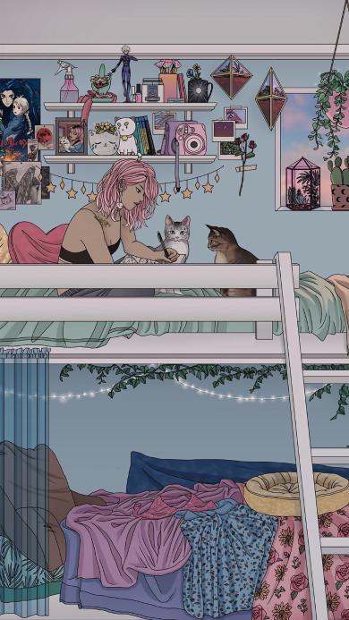 卧室 女孩 插画 猫咪 上下铺 床
