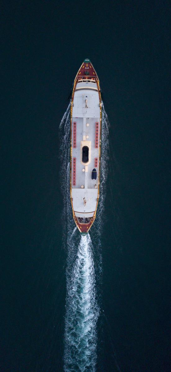 轮船 大海 行驶 水纹 波浪