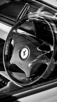 法拉利 黑白 方向盘 驾驶位 超级跑车 炫酷
