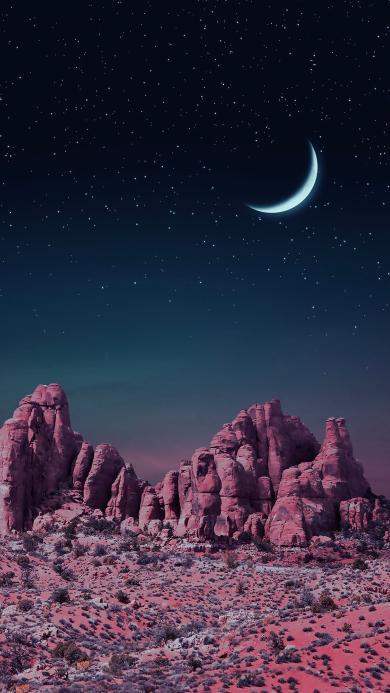 月夜 月亮 月牙 夜晚 荒漠