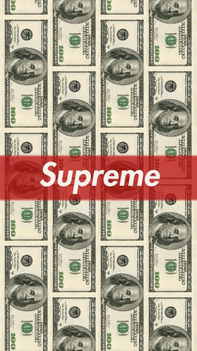 supreme 潮牌 logo 标志 商标 美元 钱 纸币