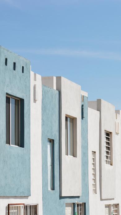建筑 楼房 蓝白 排列