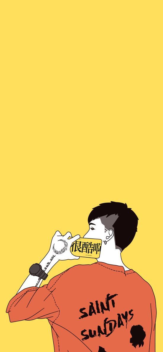 我很酷啊 情侣 手机 背影 黄色 男孩