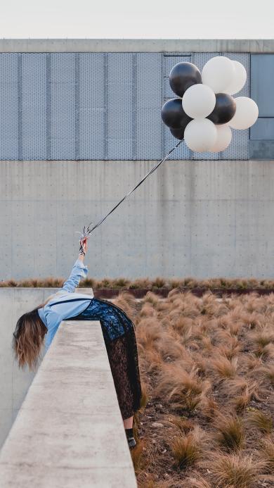 拍摄 气球 女孩 天台 氢气球