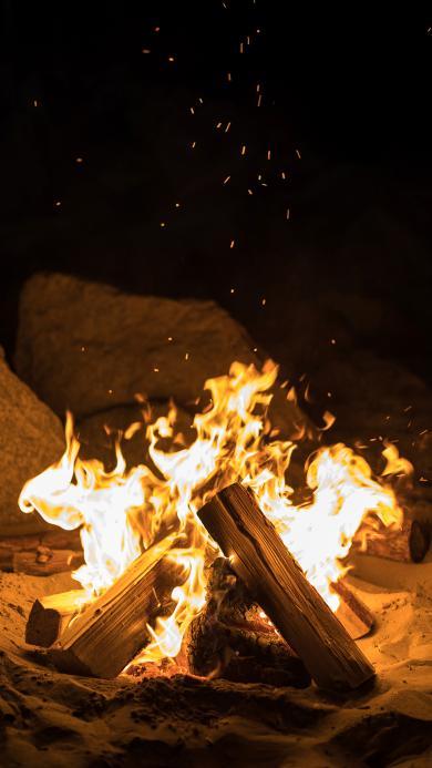 夜晚 木柴 燃烧 火光