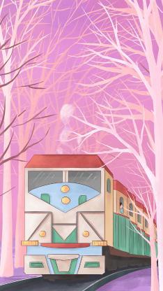 手绘 插画 火车 色彩
