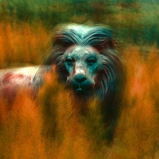 油画 动物 狮子 色彩