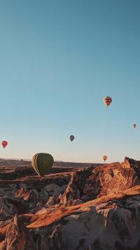 热气球 飞行 山脉 山峰