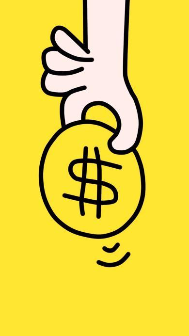 硬币 手 简笔画 美元 黄色 钱
