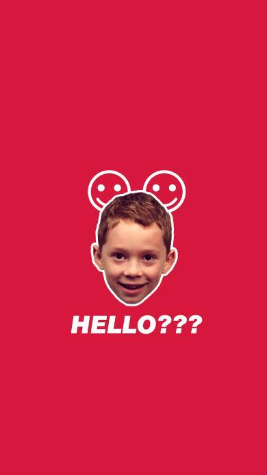 你好 hello 假笑男孩 红色