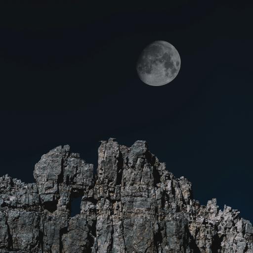 月夜 月亮 荒漠 山峰