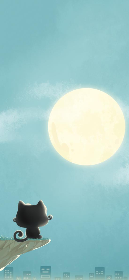 卡通 猫咪 up喵 月亮
