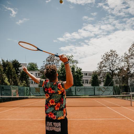 球场 打网球 男孩 背影