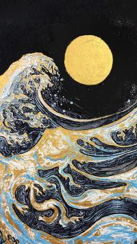 海浪 绘画 月亮 圆月 浮世绘 日本风