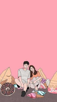 情侣 粉色 甜品 爱情 甜甜圈 冰淇淋 依偎