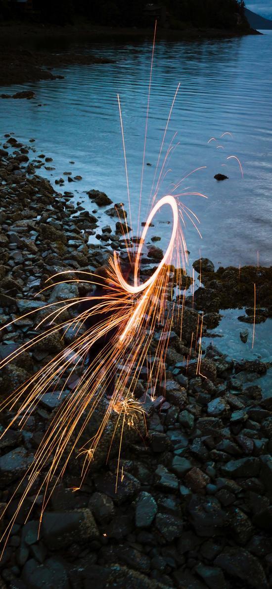 光圈 烟花 圆形 喷射 花火