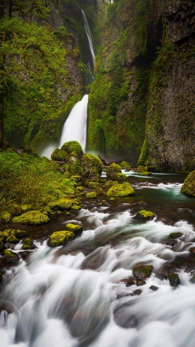 山水 瀑布 苔藓  流水